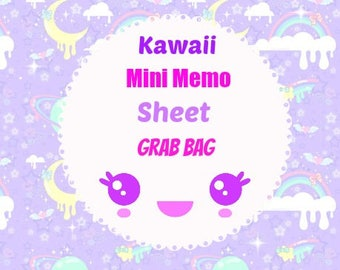 30 Pc. Kawaii Mini Memo Sheet Grab Bag Stationery Homework School Supplies, Paper Supplies, Snail mail, Notes, Scrapbooking, Packing Slips.
