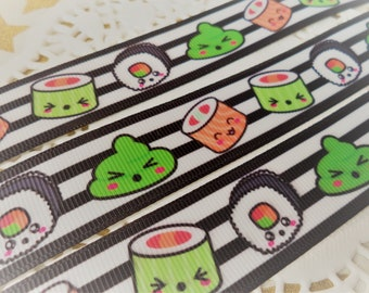 3 Yards of Wasabi Sushi Ribbon by the yard hairbows, headbands, hairties, gift wrapping, Dresses, diy, Key Chains, scrapbooking & more!