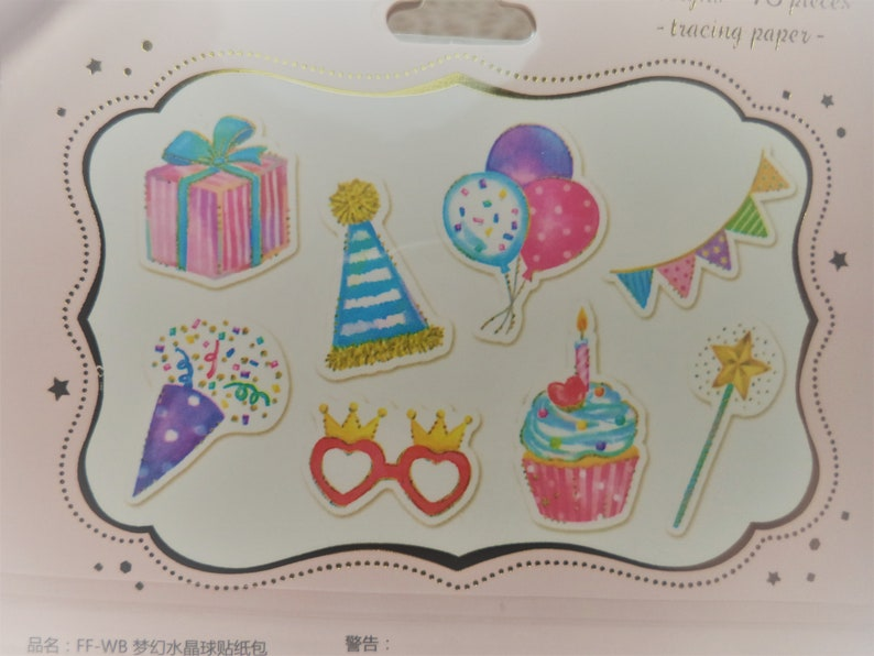 48 Pc Happy Birthday Tracing Paper Pastel Sticker Flakes For