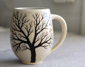 Belly Tree Mug - Pottery Coffee Cup with hand painted tree in Cream