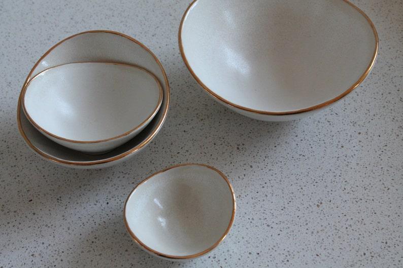 White and Gold Mini Nesting Bowls set of 4