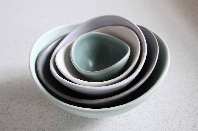 set of 5 charcoal Mini Nesting Bowls dark sea green lavender frost Sea foam