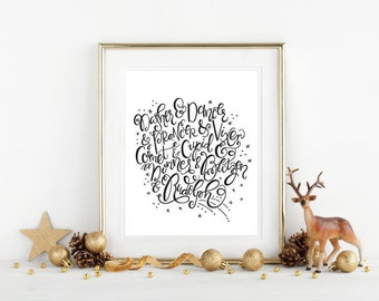 DIY / Reindeer Names - Hand Lettered Typography Art Print / Printable / Instant Download