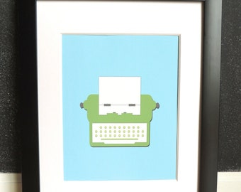 Retro Typewriter Illustration - Art Print