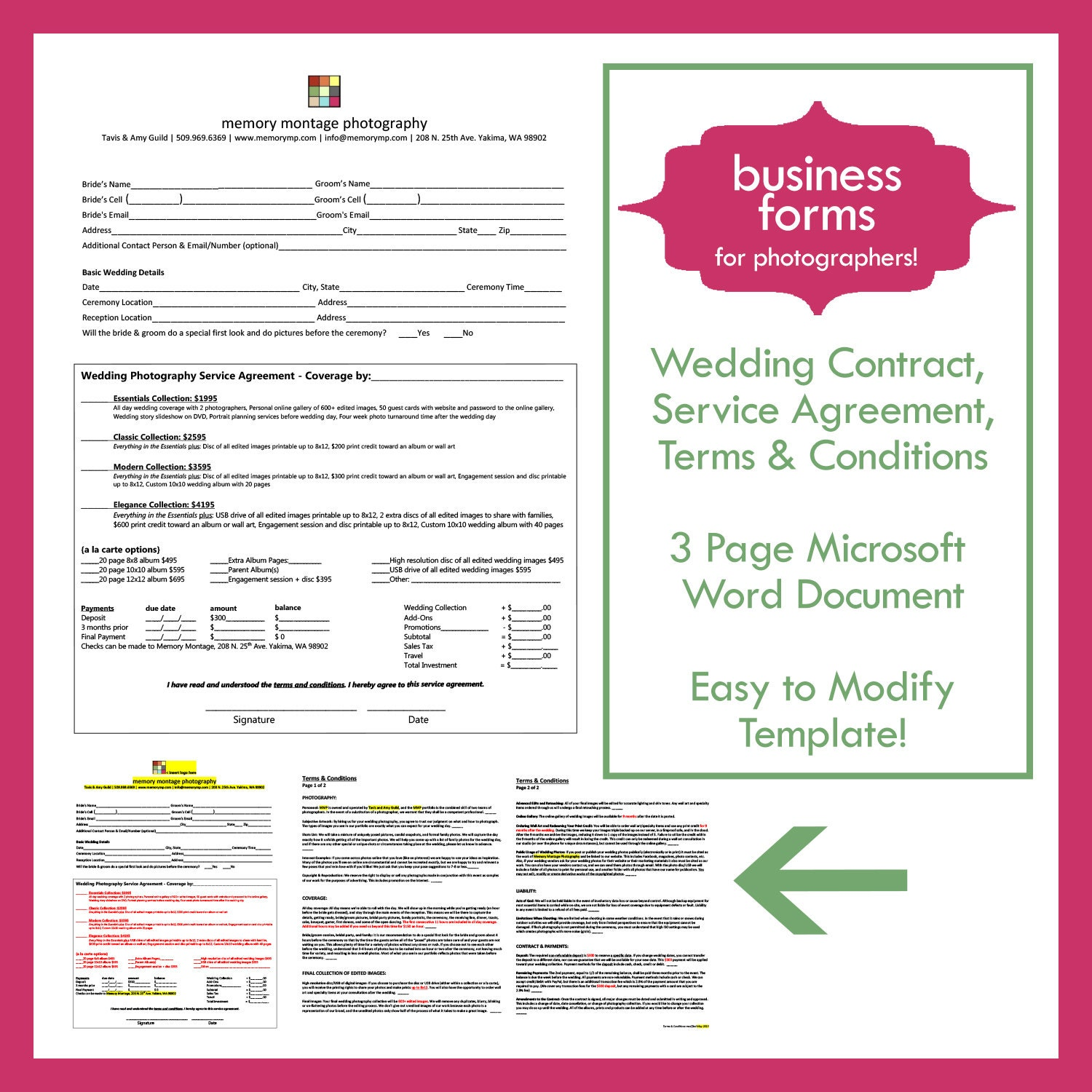 Wedding Photography Contract Template Business Form For Etsy