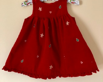 6e2fab0ac634 Vintage Corduroy Red Christmas Romper Dress   Trees Gingerbread man Hearts    24 Months Ruffle Bottom   Holiday Season