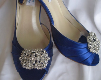 c5a2f57d19e8 Blue Wedding Shoes Blue Bridal Shoes with Crystal Brooch Blue Bridesmaids  Over 100 Custom Color Choices