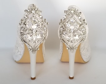 140f670735f9 Lace Wedding Shoes Crystal Back Design Lace Bridal Shoes Lace Bridesmaid  Shoes Lace Pumps Ivory Or White Wedding Shoes Ivory Bridal Shoes