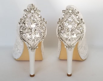 e3a75afa004d Lace Wedding Shoes Crystal Back Design Lace Bridal Shoes Lace Bridesmaid  Shoes Lace Pumps Ivory Or White Wedding Shoes Ivory Bridal Shoes
