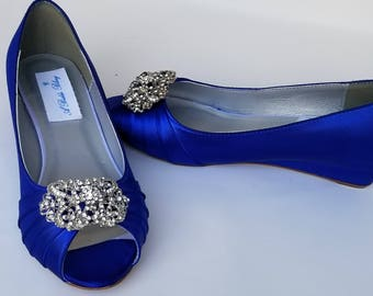 c11421d112fb Blue Wedding Shoes with Ornate Crystal Design Blue Bridal Shoes Blue Wedges  Blue Bridesmaid Shoes PICK YOUR COLOR 100 Choices