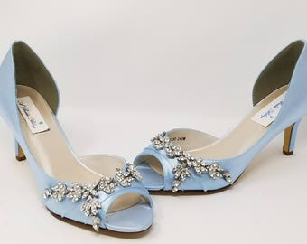 7438bd0328d Blue Wedding Shoes Blue Bridal Shoes with Crystal Design PICK FROM 100  COLORS
