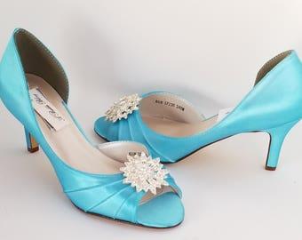 4b2acd65864e Blue Wedding Shoes Aqua Wedding Shoes PICK FROM 100 COLORS Blue Bridal Shoes  Aqua Wedding Shoes Crystal Burst Flower Design