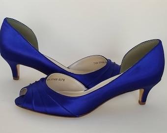 5e20357eba66 Blue Wedding Shoes Blue Bridal Shoes Blue Kitten Heels or PICK FROM 100  COLORS Blue Bridesmaid Shoes Cobalt Blue Shoes Royal Blue Shoes