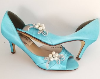 075e7f0d3c4 Blue Wedding Shoes Aqua Wedding Shoes PICK FROM 100 COLORS Blue Bridal  Shoes Aqua Wedding Shoes Crystal and Pearl Bow Design