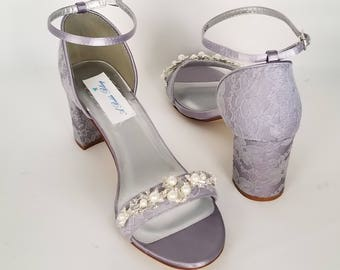 72fee7d98210f2 Purple Wedding Shoes Chunky Heels Purple Bridal Shoes Lace Bridal Shoes  Pearl Crystal Design - PICK FROM 100 COLORS Purple Bridesmaid Shoes