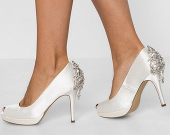 58243207e900 Ivory Wedding Shoes with Sparkling Crystal Back Design Ivory Bridal Shoes  Ivory Peep Toes Ivory Heels
