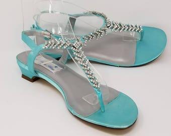adf4841677f0e Aqua Blue Wedding Shoes Aqua Blue Wedding Sandals Bridal Sandals with  Rhinestone Design- Pick your Color! Over 100 Color Choices