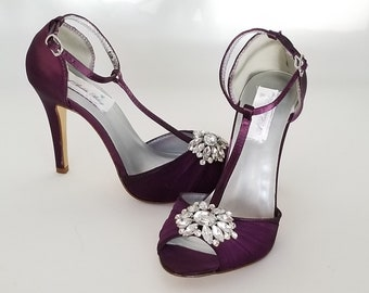 Eggplant Purple Wedding Shoes with Crystal Cluster Eggplant Purple Bridal  Shoes T Strap Bridal Shoes CHOSE 100 COLORS Bridesmaid Shoes 213272abd27a