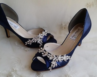 5c5d9fad644a9 Blue Wedding Shoes Blue Bridal Shoes with Imported Crystal Design Navy Wedding  Shoes Navy Bridal Shoes PICK FROM 100 COLORS