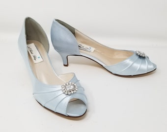 Baby Blue Wedding Shoes Crystal And Pearl Cascade Design Baby Etsy