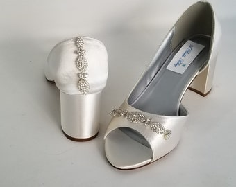 e4908af3728 Ivory Bridal Shoes Block Heel Crystal Front and Crystal Back Ivory Wedding  Shoes Chunky Heel Dyeable Bridesmaid Shoes - 100 Colors
