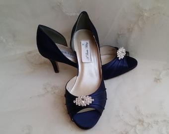 54749c19c1df Navy Blue Wedding Shoes Crystal Brooch Navy Blue Bridal Shoes Blue Wedding  Shoes Navy Wedding Shoes OVER 100 COLORS Navy Bridesmaid Shoes