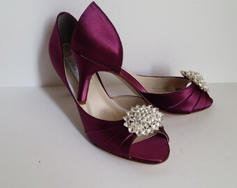 876d4d28f5d Burgundy Wedding Shoes Burgundy Bridal Shoes with Crystal Oval Brooch  Design Over 100 Custom Color Choices Wedding Shoes