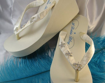 e442c460390a Ivory Flip Flops White Flip Flops with Rhinestone Starfish Design Beach  Wedding Flip Flop Sandals