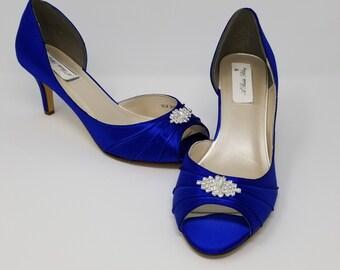 2a31fd7e4 Blue Wedding Shoes Blue Bridal Shoes with Crystal Brooch Blue Bridesmaids  Over 100 Color Choices Royal Blue Shoes Cobalt Blue Shoes