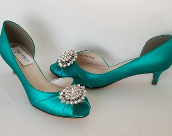 9a5fd6ac24c Teal Bridal Shoes with Crystal Oval Design Teal Wedding Shoes Teal  Bridesmaid Shoes PICK FROM 100 COLORS Different Heel Heights