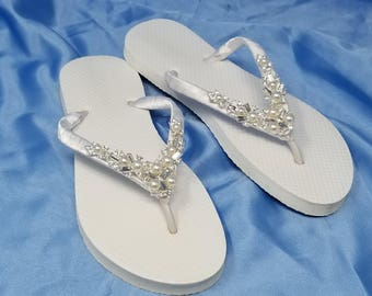 cdb159e01a1a Sparkling White Bridal Flip Flops - White Flip Flops with Pearls and Rhinestones  Bridal Flip Flops Beach Wedding Sandals Bridal Sandals