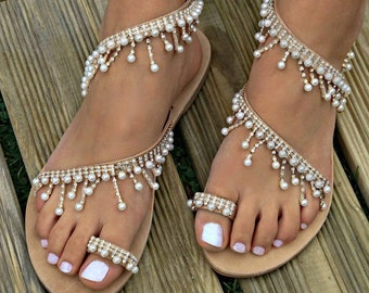 ea4194f0ba10 Wedding Sandals Bridal Sandals with Pearls and Crystals Destination Wedding  Sandals Beach Wedding Sandals Beach Wedding Shoes