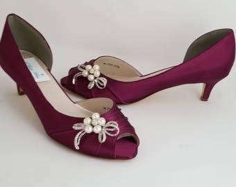 a532fccf5d5 Burgundy bridal heel | Etsy