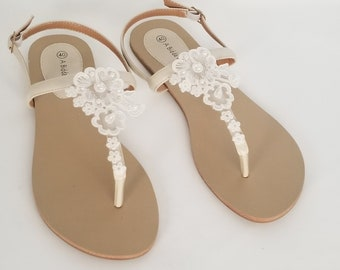 fc3b1b363ebb35 Ivory Bridal Sandals with Lace and Pearls Destination Wedding Sandals Beach  Wedding Sandals Beach Wedding Shoes Vegan Sandals