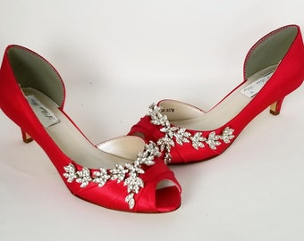 bf8114d59aa7e Red Wedding Shoes Crystal Vine Design Red Bridal Shoes Red Bridesmaid Shoes  PICK FROM 100 COLORS