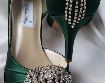 93297bb965c6 Wedding Shoes Hunter Green Bridal Shoes with Vintage Style Rectangle Brooch  And Cascading Crystal Back -100 Additional Colors To Pick From