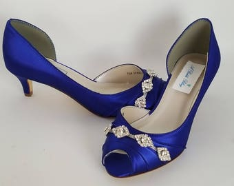 Blue Wedding Shoes Blue Bridal Shoes With Imported Crystal Etsy