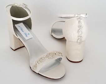 4b6092ff4c5 Ivory Bridal Shoes Block Heel Crystal Design Ivory Wedding Shoes with Chunky  Heel Ivory Lace Bridal Shoes Lace Wedding Shoes 100 COLORS