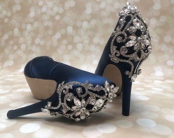 a6071d320896 Blue Wedding Shoes with Sparkling Crystal Back Design Blue Bridal Shoes  Blue Peep Toes Ivory Heels Navy Wedding Shoes Navy Bridal Shoes