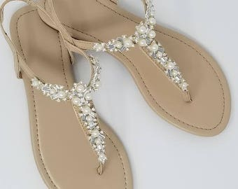 4acda69a342151 Ivory Wedding Sandals with Pearls and Crystals Ivory Bridal Sandals  Destination Wedding Sandals Beach Wedding Sandals Beach Wedding Shoes