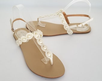 4ac79edae36f7 Ivory Wedding Sandals Ivory Bridal Sandals with Pearls Destination Wedding  Sandals Beach Wedding Sandals Beach Wedding Shoes