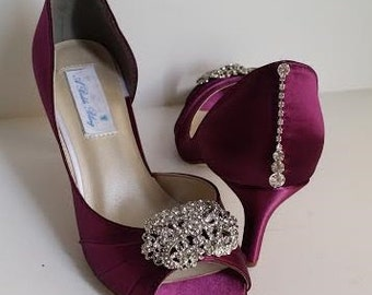 Wedding Shoes Burgundy Bridal Shoes With Sparkling Crystal Etsy