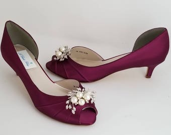 5a36e840e5f Burgundy Wedding Shoes with Crystal and Pearl Cascade Design Burgundy  Bridal Shoes Over 100 Custom Color Choices Burgundy Bridesmaid Shoes