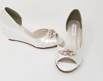 Ivory Wedding Shoes Wedge Bridal Shoes Wedge Wedding Shoes Etsy