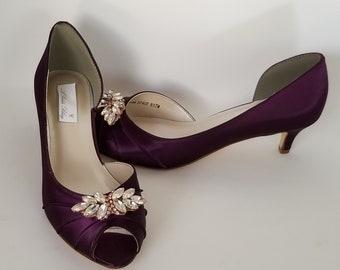 Eggplant Purple Bridal Shoes with Rose Gold Applique Eggplant Purple Wedding  Shoes 100 COLORS Eggplant Purple Bridesmaid Shoes a7e6ba6664d6