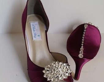 806ce5f9b10 Wedding Shoes Burgundy Bridal Shoes with Sparkling Crystal Brooch Oval  Design and Heel Crystal Design Over 100 Custom Color Choices