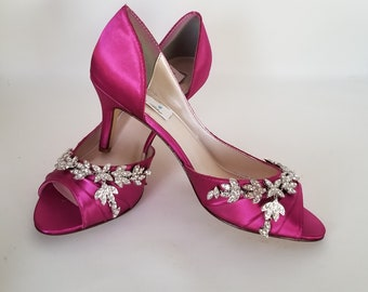 0fd18d726 Fuchsia Wedding Shoes Fuchsia Bridal Shoes with Crystal Leaf Design Over  100 Custom Color Choices