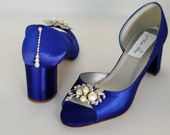 6e2f5aaffb2 Royal Blue Wedding Shoes Block Heel Pearl Crystal Front Teardrop Back  Cobalt Blue Bridal Shoes Chunky Heel Blue Bridesmaid Shoes -100 Colors