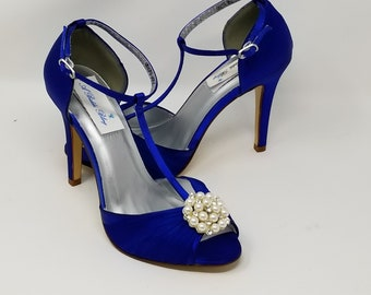 f777194ba Royal Blue Wedding Shoes Pearl and Crystal Cluster Cobalt Blue Bridal Shoes  T Strap Bridal Shoes or OVER 100 COLORS Blue Bridesmaid Shoes