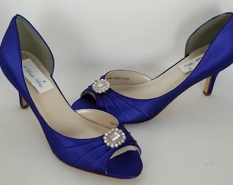 b986ec8bc Blue Wedding Shoes Blue Bridal Shoes Square Crystal Brooch Blue Bridesmaids  Over 100 Color Choices Royal Blue Shoes Cobalt Blue Shoes